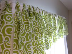 "Inspired by Pottery Barn, this diy valance is made by looping 25"" x 1 1/2"" strips of fabric over a rod. This would be so cute in my daughters room! I wonder how it'd look with tulle :)"