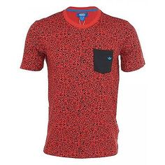 Adidas Static Tee Mens M63529 Red Black Graphic S/S T-Shirt Top Apparel Size XL
