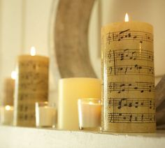 Candles wrapped in sheet music - so easy and so beautiful!