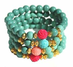 Bloom Bracelets made with Halcraft's BeadGallery beads available exclusively at Michaels Stores. Designed by @Denise H. H. Yezbak Moore