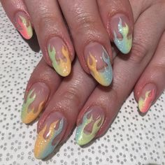 Rainbow flame #nails #nailart #nailporn #notd #flamenails #rainbowombre #nyc