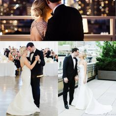 "#Amsale bride Erin wearing our ""Lenox"" gown with beaded straps for her NYC wedding.   (Photography: CLY By Matthew)"
