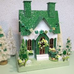 St. Patrick's Day Putz House in Green and White (Large) with Pot of Gold by glitteratmidnight on Etsy https://www.etsy.com/listing/582556312/st-patricks-day-putz-house-in-green-and