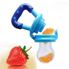 Portable Infant Food Baby Nipple Feeder Silicone Pacifier Fruits Feeding Supplies Soother Nipples Soft Baby Feeding Tool, get your baby to start eating naturally. Helps your baby ween off of breast milk. Comes with extra baby nipple for free.