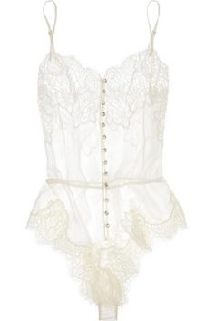 Rosamosario | Buongiorno Dolcezza silk-georgette and Chantilly lace sheer white bodysuit bridal lingerie