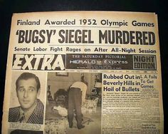 Newspaper clipping of murdered Bugsy-Seigal_shot. ..