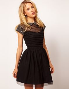 Enlarge ASOS Skater Dress with Embellished Collar