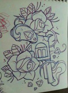 Drawing Roses Afbeeldingsresultaat voor rose and diamond tattoo designs Diamond Tattoo Designs, Diamond Tattoos, Bild Tattoos, Body Art Tattoos, Gun Tattoos, Ship Tattoos, Tattoo Hip, Tiny Tattoo, Arrow Tattoos
