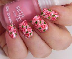 rose nail art on Skinfood PK006