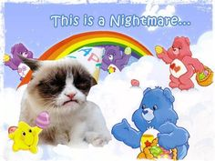 """This is a nightmare"" Poor grumpy cat!! That would drive me crazy too!! Helen Sanderson look at this!! XD"