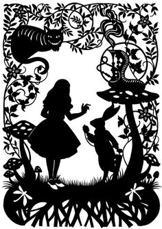 Alice in Wonderland silhouette art.