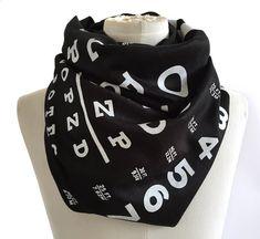 Snellen Eye Chart scarf. Black linen weave pashmina scarf. Perfect ophthalmologist, eye doctor, glasses wearer gift. For men or women.