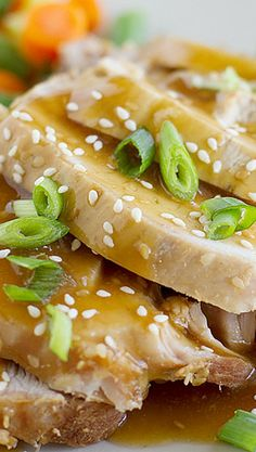 Pork roast is marinated overnight in an Asian-inspired sauce, then cooked low and slow until it is fall-apart tender in this Slow Cooker Sesame Pork. Crock Pot Slow Cooker, Crock Pot Cooking, Slow Cooker Recipes, Crockpot Recipes, Sesame Pork Recipe, Korean Food, Korean Recipes, Crockpot Dumplings, Pork Chop Recipes