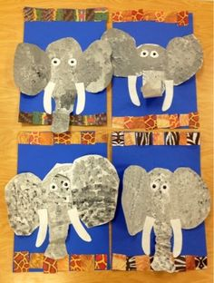 Kindergarten Elephants/Sponge Painting/Art with Mr. Giannetto Kindergarten Elephants/Sponge Painting/Art with Mr. Kindergarten Art Lessons, Art Lessons Elementary, Animal Art Projects, Animal Crafts, Art 2nd Grade, Classe D'art, School Art Projects, Elephant Art, Preschool Art