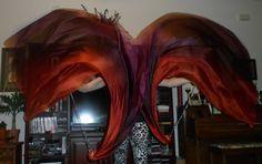 Sahariah's Silk Belly Dance Veil Killer Tornado Poi Voi Set 2 Poi Veils and Set of Poi Chains Tribal markings