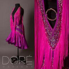Hot Magenta Halter Neck Latin w/ Pink Fringe Accents & Charmeuse Skirt