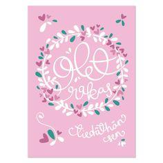 Olet rakas (vaaleanpunainen) postikortti