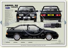Ford Sierra RS Cosworth 1986 classic sports saloon portrait print