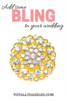Add some sparkle to your special day with these beautiful gold and rhinestone brooches from totallydazzled.com! Come and see all that we have to offer to make your day shine bright! We'll dazzle you, so you can dazzle your guests!