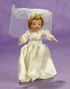 Elan Auction - June 10-11, 2017   Rare American Miniature Doll as Bride from Tiny Town Dolls. $200/300
