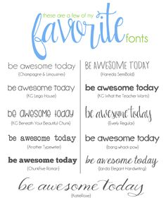 """""""Be awesome today."""" Favorite fonts from Lauren McKinsey Funky Fonts, Cute Fonts, Pretty Fonts, Typography Fonts, Typography Design, Computer Font, Cricut Fonts, Creative Fonts, Web Design"""
