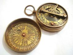 sundial! whoa. $14 high grade marine time vintage 1500's hand crafted antique sundial compass SC 04 #IndianMade