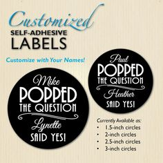 He Popped the Question, Bridal Shower Label, Engagement Party, Wedding Stickers, Popcorn Box, Popcorn Bag, Chalkboard, Personalized Text