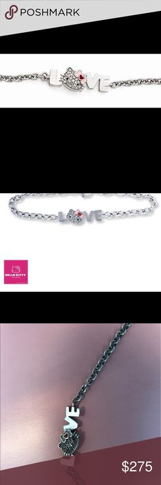 """Kay Jewelry LOVE Hello Kitty® cute bracelet The word """"love"""" with the face of Hello Kitty® as the letter """"o"""" is spelled out on this cute bracelet for her. The cat's face is styled in crystals with an enamel hair bow. The bracelet is 7 1/2 inches long and fastens with a lobster clasp 1 in extension safety chain. Weight 4.3 grams. Hello Kitty Bracelet Enamel & Crystals STERLING SILVER LINK CHAIN Clasp Type LOBSTER CLASP Dimension Length 7.50 INCH Dimension Height 10.00MM Dimension Width 28.75MM…"""