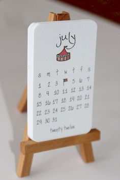 Calendar 2012 Mini Doodle Desk Calendar With Wooden Easel – Julieta birchner – Diy 2012 Calendar, Calendar Ideas, Blank Calendar, Calendar Templates, Printable Calendars, Free Printable, Wooden Calendar, Calendrier Diy, Kalender Design