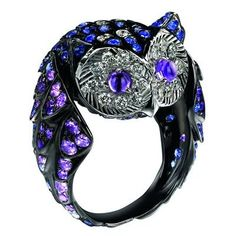 Owl Ring - Paved with Sapphires, diamonds and amethysts, on white gold.