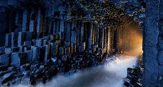Fingal's Cave, Isle of Staffa, Scotland.  Basalt pillars line Fingal's Cave.