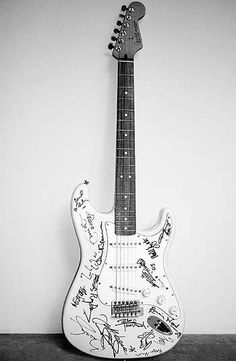 This Fender Stratocaster was sold for $2700000 The instrument is signed by Mick Jagger, Keith Richards, Eric Clapton, Brian May, Jimmy Page, David Gilmour, Jeff Beck, Pete Townsend, Mark Knopfler, Ray Davis, Liam Gallagher, Ronnie Wood, Tony Iommi, Angus and Malcolm Young, Paul McCartney, Sting, Ritchie Blackmore, Def Leppard and Bryan Adams.