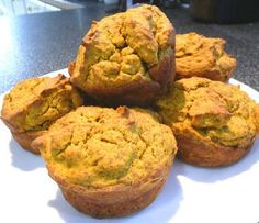 Wheat-Free, Low-Carb Pumpkin Muffins.  Very Low-Carb Pumpkin Muffin in a Minute (Mim).  I'll change out the Splenda for stevia and xylitol, and use almond or coconut flour instead of the soy.