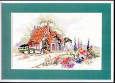 cross stitch hollyhock cottage - Google Search