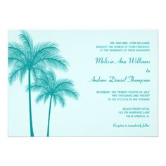 See MoreTeal Blue Palm Tree Tropical Wedding Personalized Invitesonline after you search a lot for where to buy