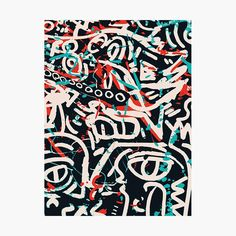 'Street Art Graffiti Pattern Ink and Posca ' Art Print by Emmanuel Signorino Artwork Prints, Fine Art Prints, Canvas Prints, Posca Art, Kunst Poster, Watercolor Texture, Street Art Graffiti, Folded Cards, Pattern Art