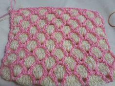 Fácil puntada tejido en gancho para cobijas, bufandas, etc  (Muestra # 3)