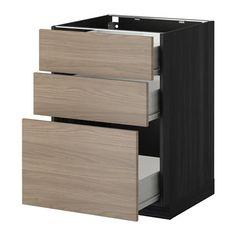 METOD/FÖRVARA Élt bas 3 faces/3 tiroirs moyens IKEA Tiroirs faciles à ouvrir avec arrêt. Les tiroirs se ferment automatiquement en fin de co...