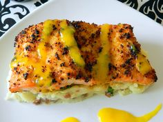 Coconut Crusted Salmon with Mango Rum Sauce