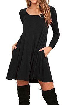 745d8c6b775 AUSELILY Women s Round Neck Long Sleeve A-line Plain Simple T-shirt Swing  Dress With Pockets (M