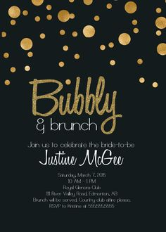 Printable Black and Gold Champagne Brunch bridal shower Invitation by glassslipperdesigns on Etsy