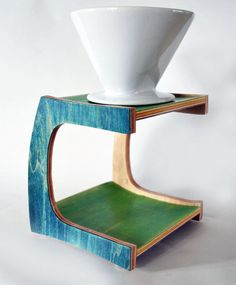 Pour Over Coffee Stand made from repurposed by GenuineWoodworking
