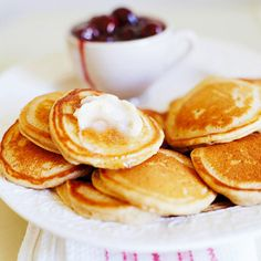 Sweet apple butter gives these hotcakes a boost of fruit flavor. More delicious brunch recipes: http://www.bhg.com/christmas/recipes/christmas-breakfast-recipes/?socsrc=bhgpin113012applehotcakes=12
