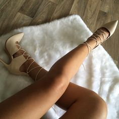 """""""We weren't kidding when we said we loved lace up heels Check out this hot new arrival This Nude hue is perfect for literally any Fall ensemble These…"""""""