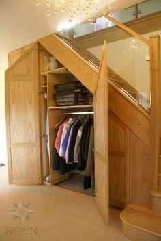 Under the Stairs Cloak Room. Great for homes with no Entryway/Front Hall closet space. Front Hall Closet, Closet Under Stairs, Space Under Stairs, Under Stairs Cupboard, Staircase Storage, Stair Storage, Staircase Design, Attic Staircase, Basement Storage
