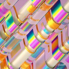 Cascade - Digital art series by Machineast Singapore 3d Geometric Shapes, Geometric Patterns, Hot Summer Looks, Arte Steampunk, Kristina Webb, Interior House Colors, Bright Pictures, Signage Design, Art Series