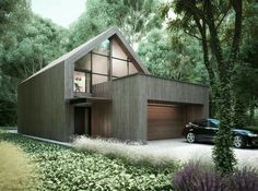 Modern house architecture in the woods : by Majchrzak Pracownia Projektowa Modern Barn House, Modern House Design, Facade House, House Exteriors, Exterior Design, Future House, Building A House, Building Ideas, Architecture Design