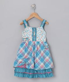 Take a look at this Blue Ruffle Cinch Dress - Toddler & Girls  by Le Fromage et L'Orange on #zulily today!