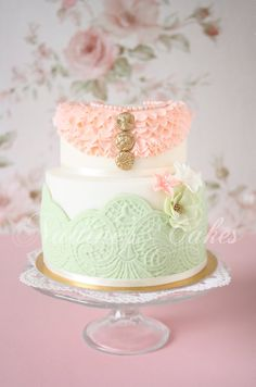 Mint and Pale Pink Lacey Cake with Gold Buttons