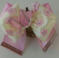 Delicate and beautiful accessory for the hair made with care and love. It is made of a very special design looking perfect for any occasion. The Bow is approximately 5 inches long and 3 inches wide, it is also held by a barrette measuring 3 inches Making Hair Bows, Diy Hair Bows, Ribbon Hair, Ribbon Bows, How To Make Hair, How To Make Bows, Hair Bow Tutorial, Baby Hair Accessories, Boutique Hair Bows